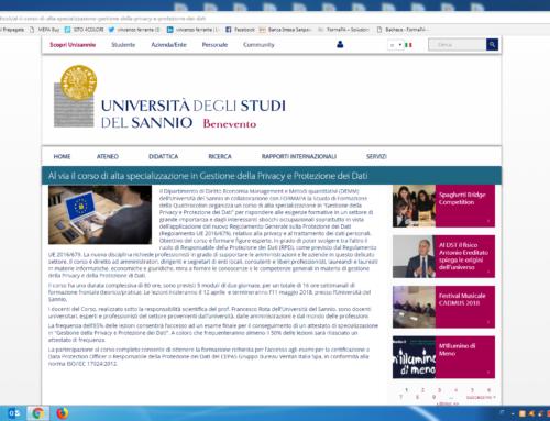 Università del Sannio – CORSO DI ALTA SPECIALIZZAZIONE IN GESTIONE DELLA PRIVACY E PROTEZIONE DEI DATI